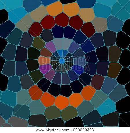 Stone plate paving seamless pattern. Abstract geometric colorful hexagon shapes ornament vector texture. Beige, brown, turquoise blue gradient mosaic tracery background.