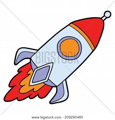 Vector illustration of cute cartoon rocket for children and scrap book