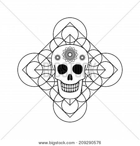 Vector ornamental skull and geometric symbol. Day of The Dead emblem