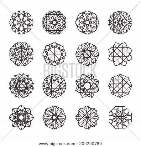 Geometric ornaments set. Vector linear editable symbols