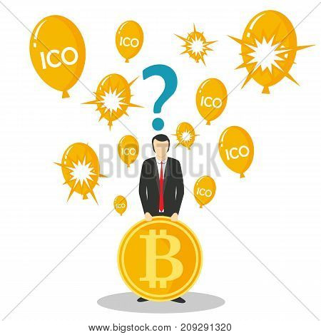 ICO or initial coin offering concept vector illustration. Businessman holding bitcoin, question mark above his head and balloons with ICO lettering or bursting balloons.