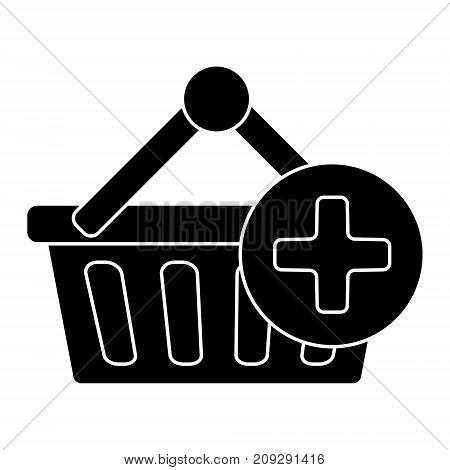 cart shopping plus icon, illustration, vector sign on isolated background