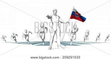 Slovakia Racing to the Future with Man Holding Flag 3D Render