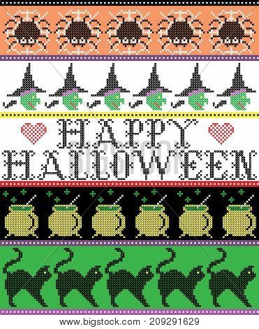 Scandinavian cross stitch and traditional American holiday inspired seamless Happy Halloween pattern with spider, web, witch, boiler, cat and decor ornaments in purple, orange, black, yellow, green