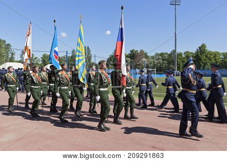 St. Petersburg, Russia - June 16, 2017: Echoes group in the ceremonial March dedicated to the production of 305 Military space Academy imeni A. F. Mozhaisky