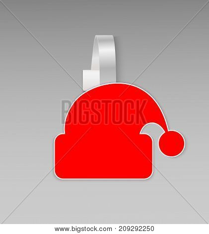 Empty blank red a hat Santa Claus paper plastic advertising price wobbler front view isolated. Advertising stickers Christmas sale banner. Vector illustration for promotions and hot offers