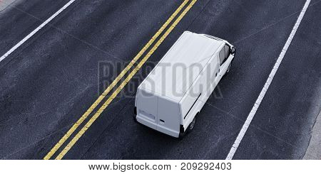 Van transporter driving on street or highway (3D Rendering)