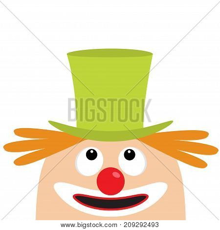 Clown face head looking up. Big eyes red nose mouth smile orange hair. Magician hat. Cute cartoon funny baby character. Circus symbol. Flat design. White background. Isolated. Vector illustration