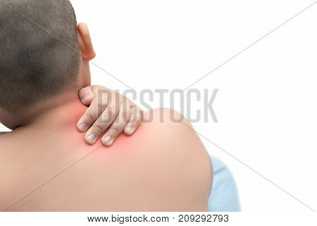 Fat Boy Scratch The Itch With Hand Isolated On White Background