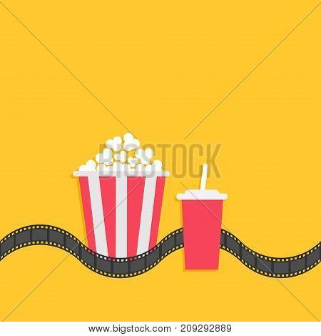 Popcorn box. Soda glass with straw. Film strip line. Cinema movie icon set in flat design style. Yellow background. Isolated. Vector illustration