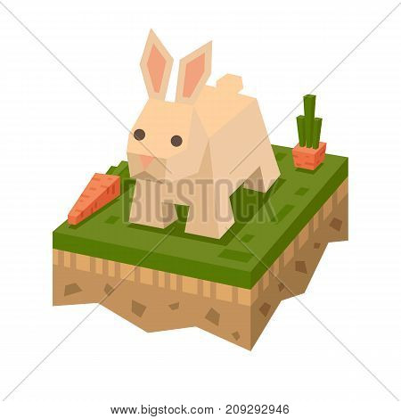 3D isometric flat style rabbit. Isometry animal. Vector hare character. Rabbit on tile of ground, mammal in wildlife. Hare on grass. Coney element for game or poster design. Vector illustration art. poster