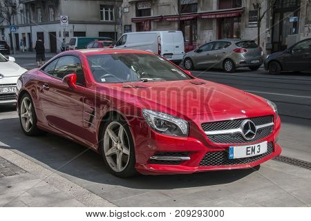 March 25, 2017 - Budapest, Hungary - Red Mercedes Sl 350 Car Parked In The Street In Budapest