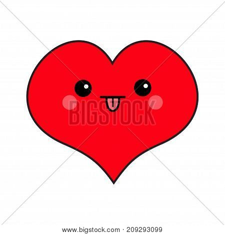 Red heart face head. Cute cartoon kawaii funny smiling character. Eyes mouth tongue out blush cheek. Happy Valentines day sign symbol. Flat design. Greeting card. Isolated. White background. Vector