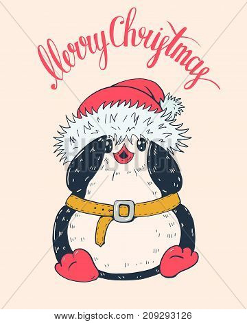 Winter illustration with funny cartoon penguin in Christmas hat. Vector.
