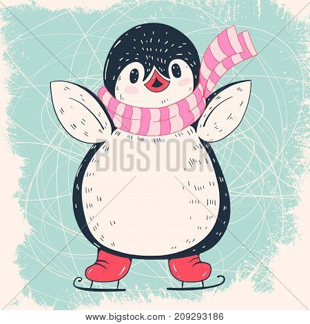 Winter illustration with funny cartoon penguin on skates. Vector.