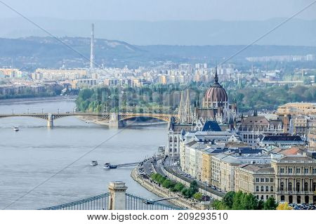 Beautiful view of hungarian Parliament building next to Danube river in Budapest Hungary