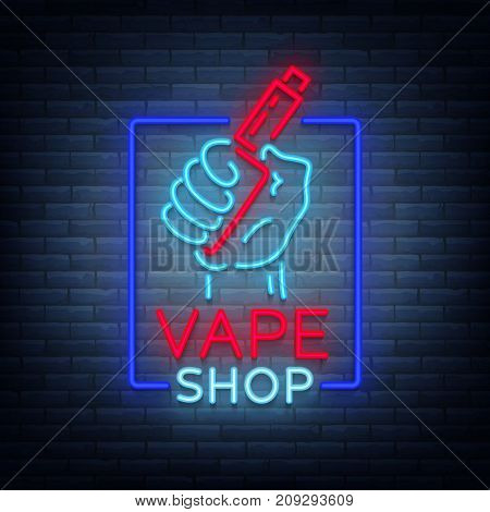 Vape shop neon icon, logo isolated Vector illustration. Neon sign, a night glowing banner selling electronic cigarettes.