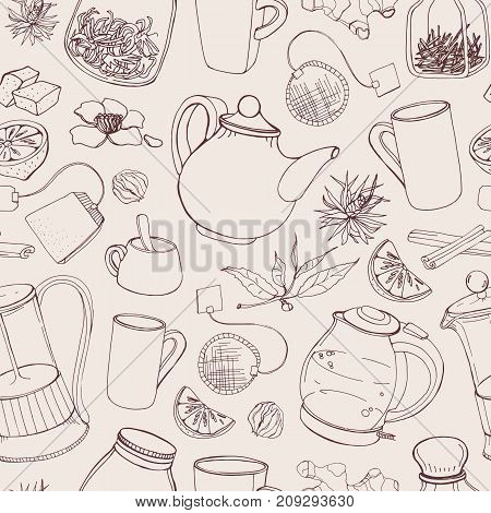 Contour seamless pattern with hand drawn tools for preparing and drinking tea - electric kettle, french press, teapot, cup, mug, sugar, lemon, herbs and spices. Vector illustration in light colors