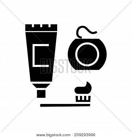 cleaning teeth - brush, toothpaste, dental floss icon, illustration, vector sign on isolated background