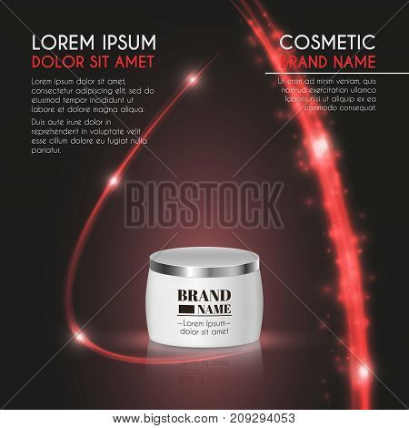 3D Realistic Cosmetic Bottle Ads Template. Cosmetic Brand Advertising Concept Design With Glowing Sp