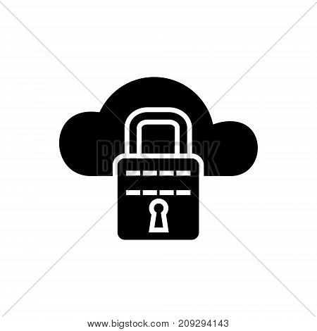 cloud security icon, illustration, vector sign on isolated background