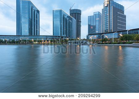 central business district of suzhou by jinji lake,jiangsu province,china.