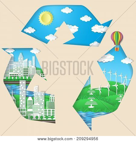 Environmental conservation, eco technologies concept vector illustration. Recycling symbol with green eco city, solar panels, windmills, blue sky with sun and light white clouds.