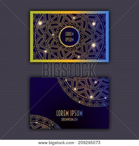 Luxury Business Cards With Floral Mandala Ornament. Vintage Decorative Elements