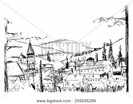 Rough black and white sketch of small ancient Georgian town, buildings and trees against high mountains on background. Drawing of landscape with settlement located on hillside. Vector illustration