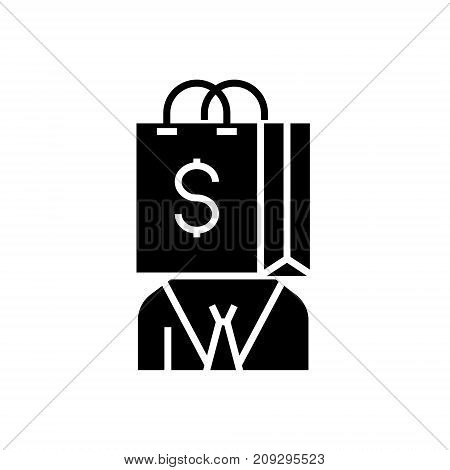 consumerism icon, illustration, vector sign on isolated background