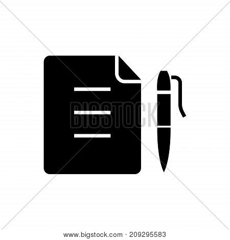 contract - document file with pen icon, illustration, vector sign on isolated background