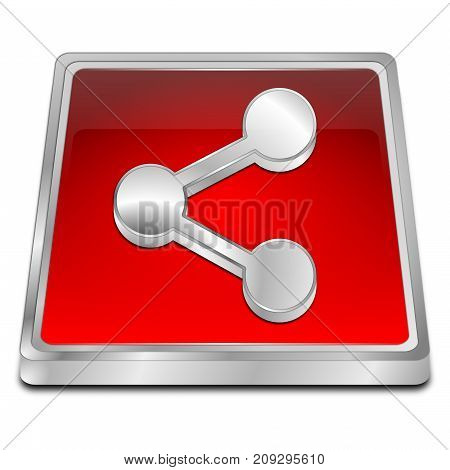 decorative red Share Button - 3D illustration