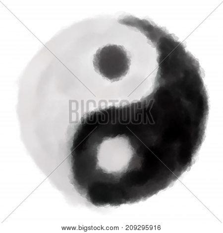 painted yin yang symbol on white background