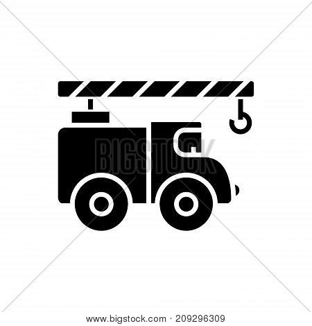 crane car icon, illustration, vector sign on isolated background