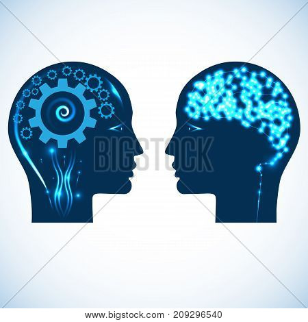 Gear wheels and a shone brain concept rational and creative thinking heads of two people