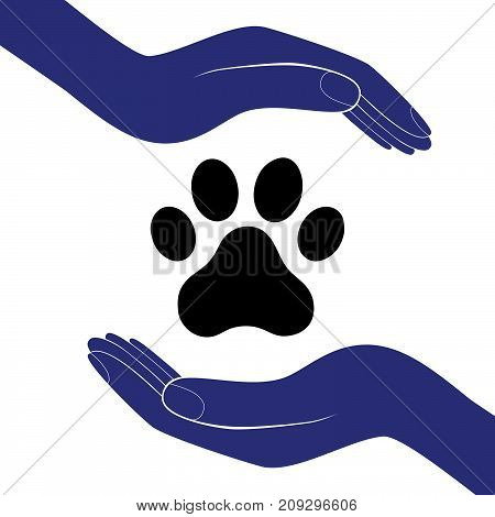 Animal dog paw in people hand human help encourage vector illustratration.