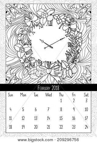 Christmas wreath clock, coloring book page calendar. Merry Christmas and Happy New Year calendar to second month of winter february 2018. Mono outline doodle style, pattern vector illustration