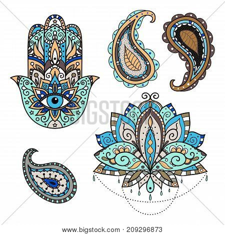 A set of stickers on the eastern theme - lotus paisley hamsa. Vector illustration.