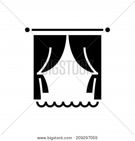 Curtains with window icon, illustration, vector sign on isolated background