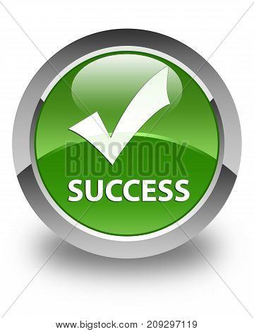 Success (validate icon) isolated on glossy soft green round button abstract illustration poster