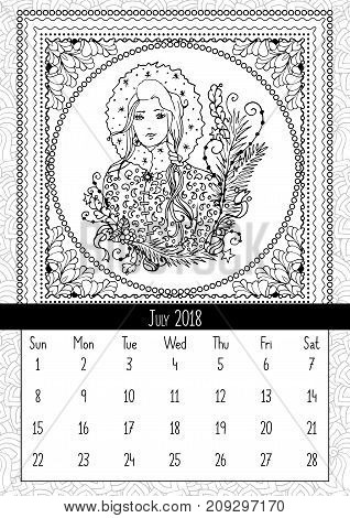 snow maiden coloring book page calendar july 2018 snegurochka woman traditional fairy folk character
