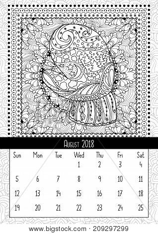 Mitten with scenery doodle pattern, calendar August 2018. Coloring book page for adults and children with landscape doodle illustration. Handdrawn monochrome christmas poster. Vector