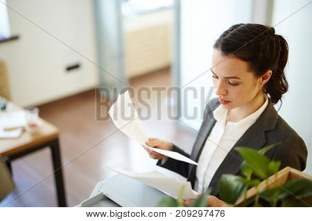 Young manager reading business papers or contracts in office