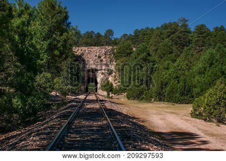 The landscape with the Copper Canyons railway road near Creel Chihuahua Mexico