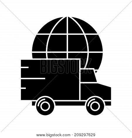 delivery worldwide icon, illustration, vector sign on isolated background