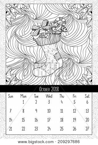 Christmas sock with gifts, calendar October 2018. Traditional Christmas symbol in coloring book page format. Handdrawn festive illustration in outline style. Vector doodle poster