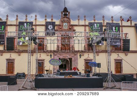 Zacatecas Mexico - October 19 2014: The stage is prepared for one of many cultural festivals in the beautiful historical center of Zacatecas Mexico. Unesco World heritage site