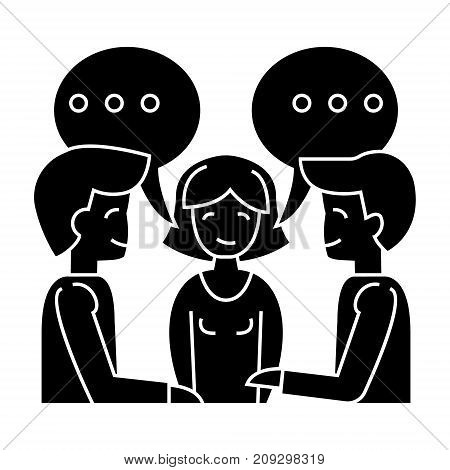discussion - negotiation - treaty - 2 man and woman icon, illustration, vector sign on isolated background
