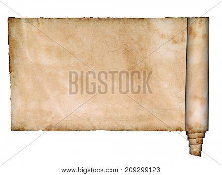 Vintage blank paper scroll isolated over white background with copy space