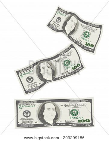 100 Dollars Banknote. Bill one hundred dollars isolated on white background. Concept of prosperity success growth in business. Flying falling currency of US. Vector illustration flat style.